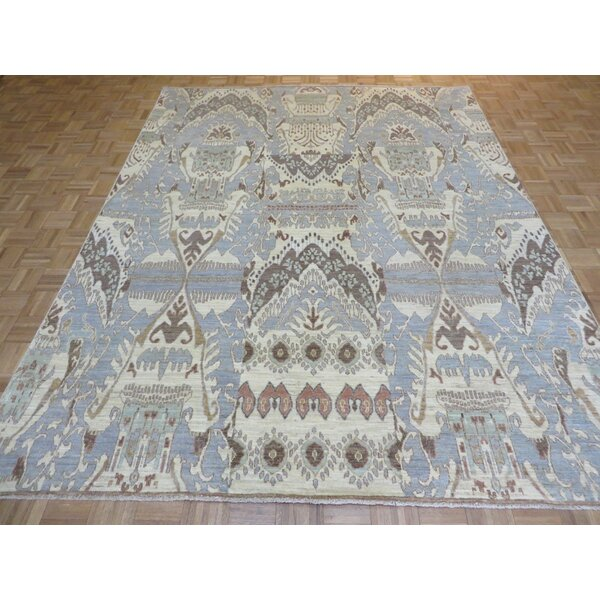 One-of-a-Kind Josephson Ikat Hand-Knotted Wool Sky Blue Area Rug by Canora Grey
