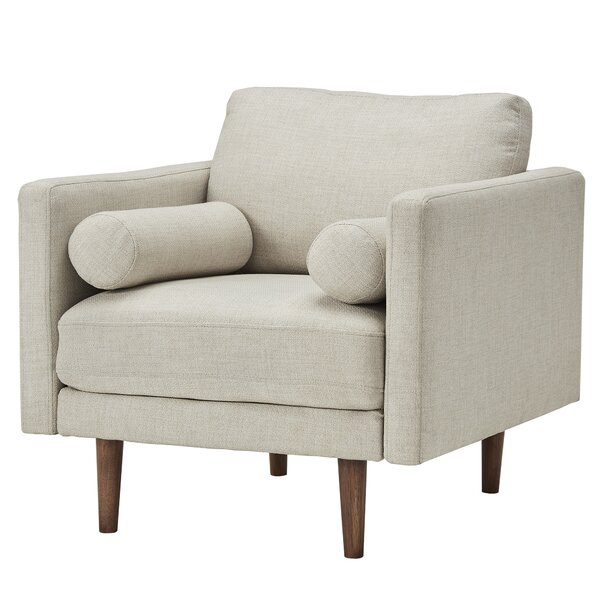 Desalvo Oatmeal Tweed Fabric Tapered Armchair by Mercury Row