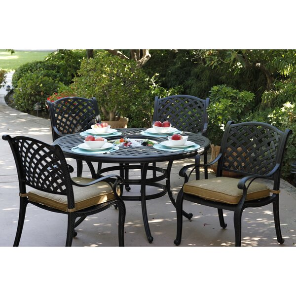 Lincolnville 5 Piece Round Dining Set with Cushions by Fleur De Lis Living