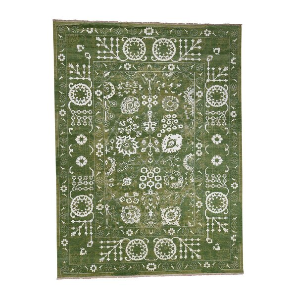 One-of-a-Kind Agate Cove Tabriz Oriental Hand-Knotted Silk Green Area Rug by World Menagerie