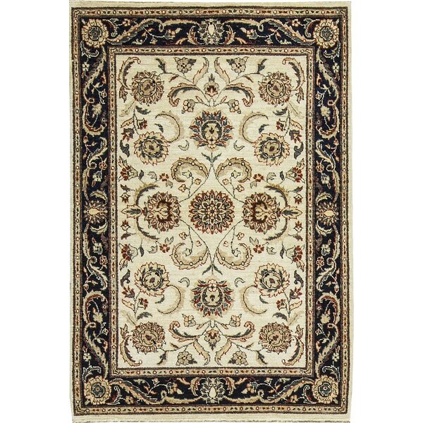 One-of-a-Kind Afghan Gabbeh Hand-Knotted Wool Ivory/Blue Area Rug by Bokara Rug Co., Inc.