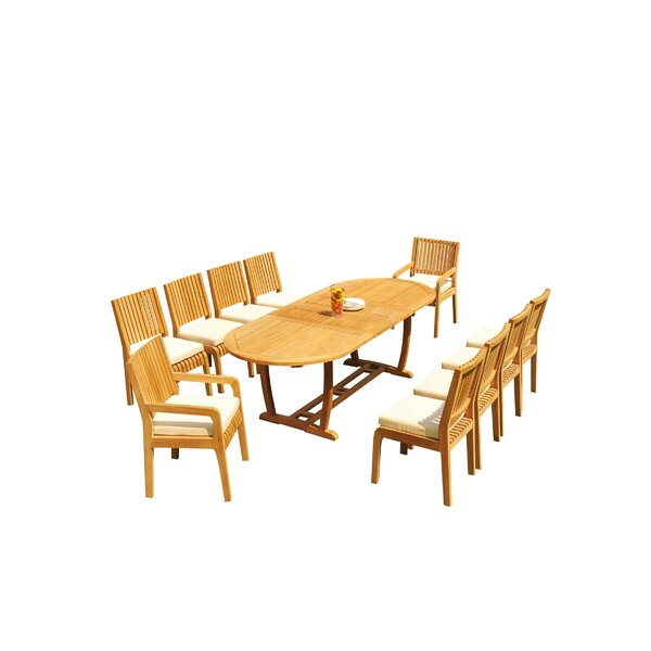 Maskell 11 Piece Teak Dining Set by Rosecliff Heights