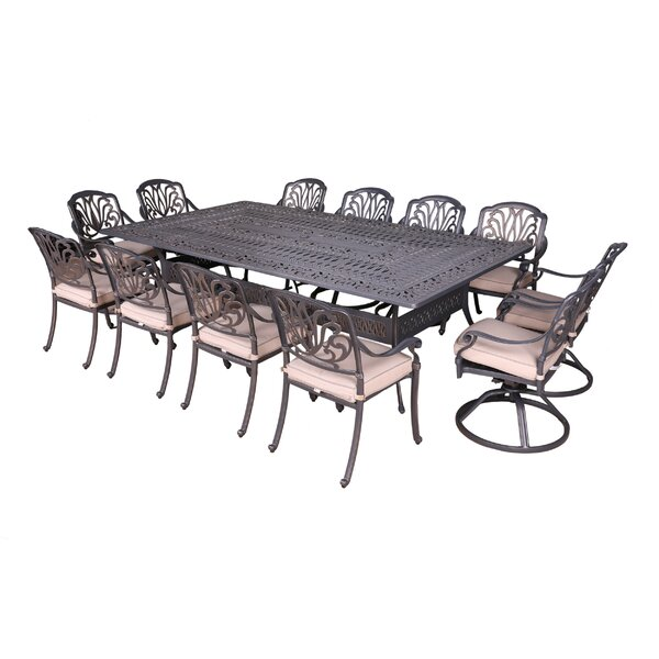 Gunter 13 Piece Dining Set with Sunbrella Cushions by Fleur De Lis Living