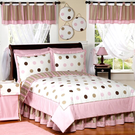 Mod Dots Pink Kid Bedding Comforter Collection by Sweet Jojo Designs