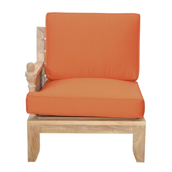 Luxe Teak Right Arm Patio Chair with Sunbrella Cushions by Anderson Teak