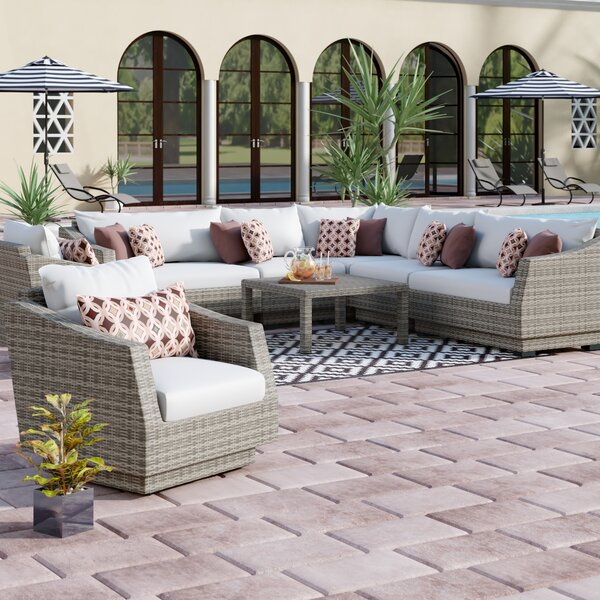 Castelli 9 Piece Sectional Seating Group with Cushions by Wade Logan