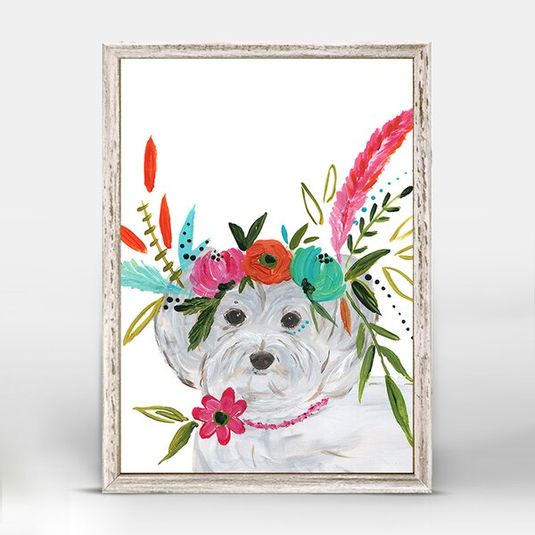 Casey Boho Maltipoo Mini Framed Canvas Art by Bungalow Rose