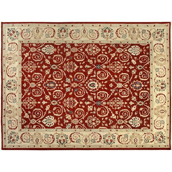 Badham Hand-Knotted Wool Red/Ivory Area Rug by Bloomsbury Market