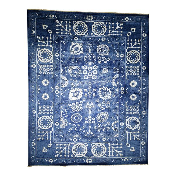One-of-a-Kind Hand-Knotted Blue 12' x 15'2 Wool Area Rug