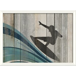 Surfer on Wave I Framed Graphic Art Print by The Artwork Factory
