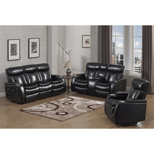 Yedinak Smart Tech Bluetooth Power 3 Piece Reclining Living Room Set by Red Barrel Studio