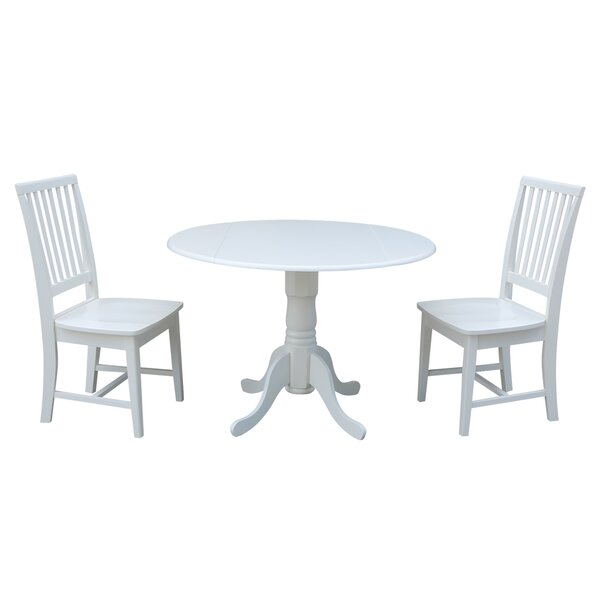 Berkowitz 3 Piece Drop Leaf Solid Wood Dining Set by Loon Peak