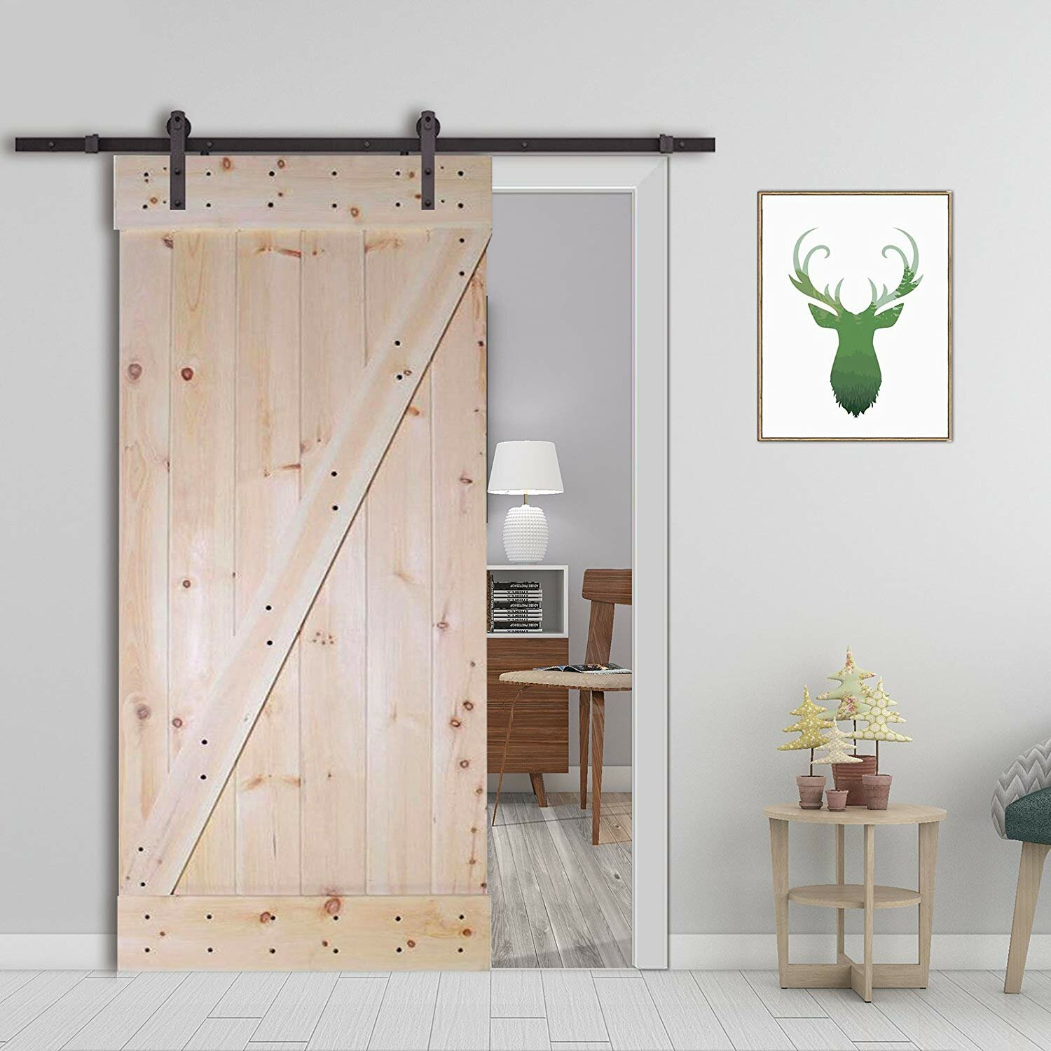 Calhome Paneled Wood Unfinished Z Bar Solid Core Interior Barn Door Wayfair