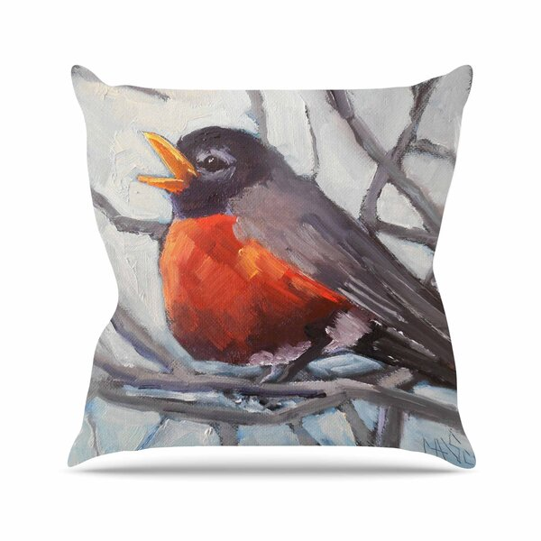 Winter Robin Throw Pillow by East Urban Home