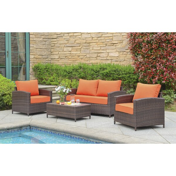 Buschwick 4 Piece Rattan Sofa Seating Group with Cushions by Gracie Oaks
