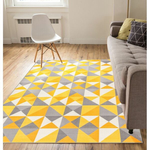 Vector Yellow Area Rug by Well Woven