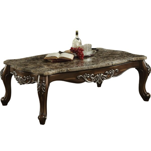 Haylee Marble Top Wooden Coffee Table By Astoria Grand