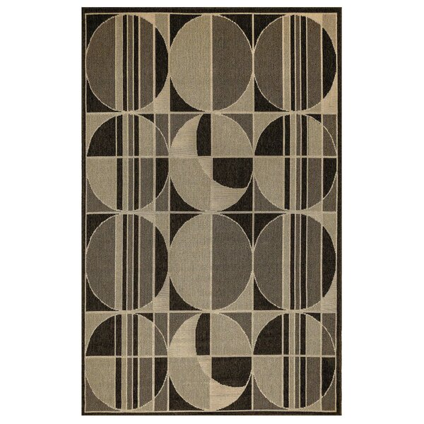 Corr Circles Ivory/Black Indoor/Outdoor Area Rug by Ebern Designs