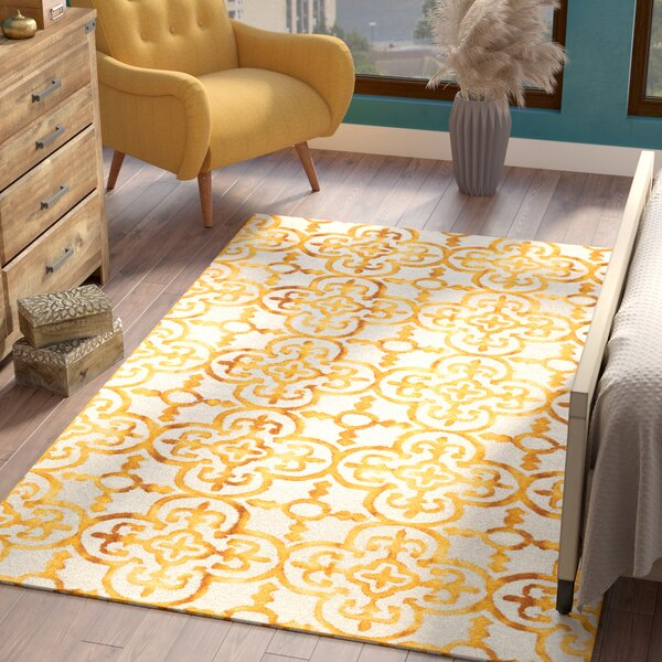 Naples Park Hand-Tufted Yellow Area Rug by Bungalow Rose