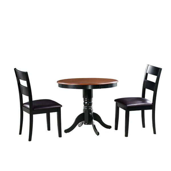 Dahlberg 3 Piece Solid Wood Dining Set by August Grove