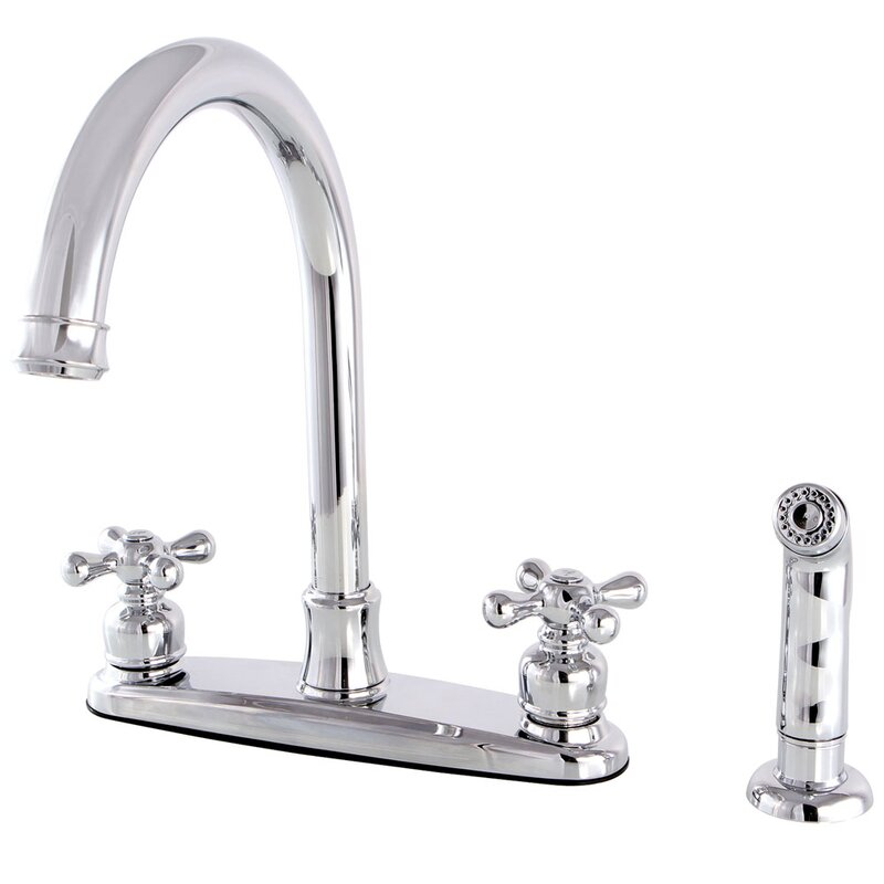 Kingston Brass Victorian Double Handle Kitchen Faucet with Side ...