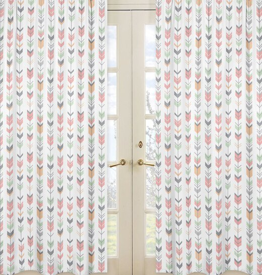 Mod Arrow Semi-Sheer Rod Pocket Curtain Panels (Set of 2) by Sweet Jojo Designs