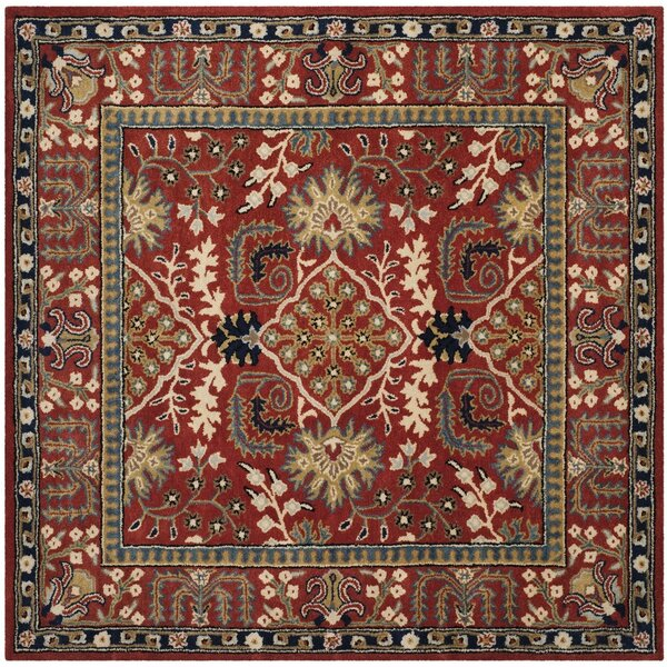 Genemuiden Hand-Tufted Red Area Rug by World Menagerie