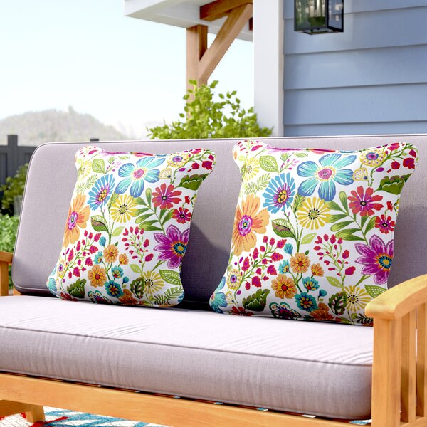 Paxton Floral Piped Indoor/Outdoor Throw Pillow (Set of 2) by Andover Mills