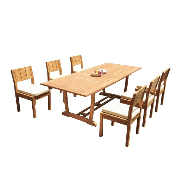 Tristian 7 Piece Teak Dining Set by Rosecliff Heights