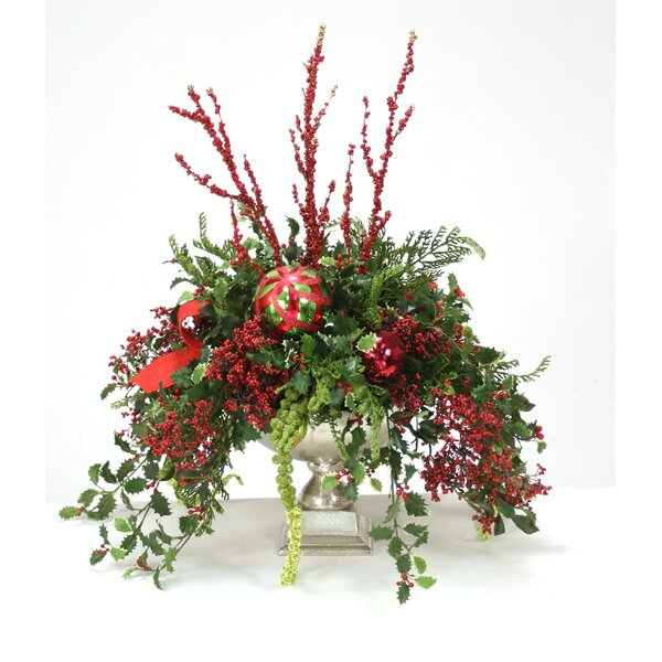 Holly Berries Glittered Flowering Branch in Urn by Distinctive Designs