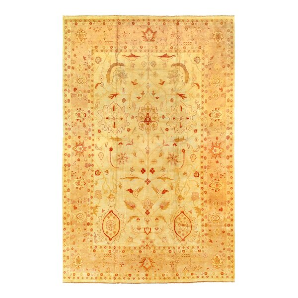 One-of-a-Kind Hand-Knotted Agra Beige 12' x 18' Area Rug