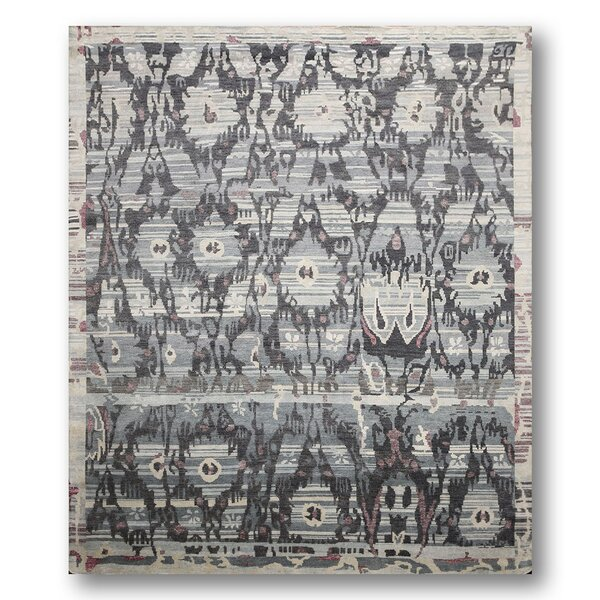 One-of-a-Kind Fleckenstein Hand-Knotted Wool Gray/Blue Area Rug by Bloomsbury Market