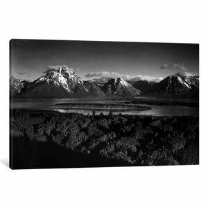 Mt. Moran and Jackson Lake from Signal Hill by Ansel Adams Photographic Print on Wrapped Canvas by Loon Peak