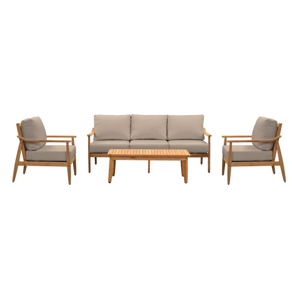 Alta 4 Piece Teak Multiple Chairs Seating Group with Sunbrella Cushions by Union Rustic