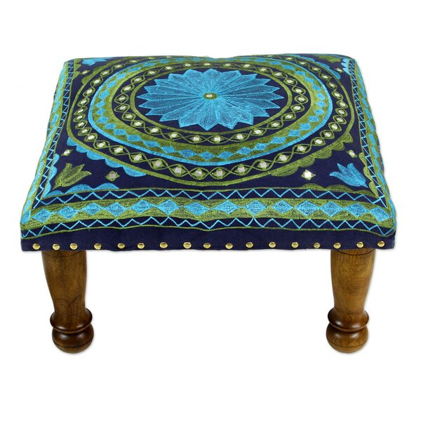 Roundhay Mandala Cotton Embroidered Accent Stool by Bloomsbury Market