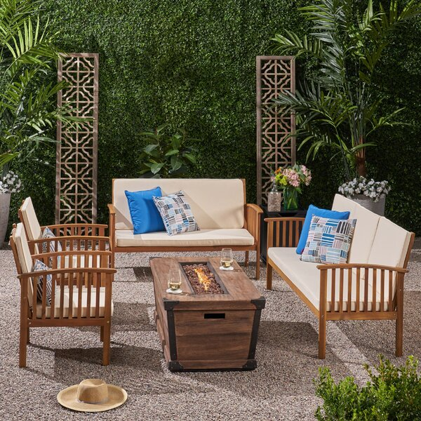 Olympia Outdoor 6 Piece Sofa Seating Group with Cushions by Breakwater Bay Breakwater Bay