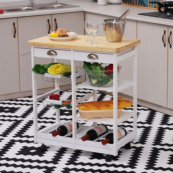 Shurtleff Rolling Kitchen Cart Solid Wood by Winston Porter