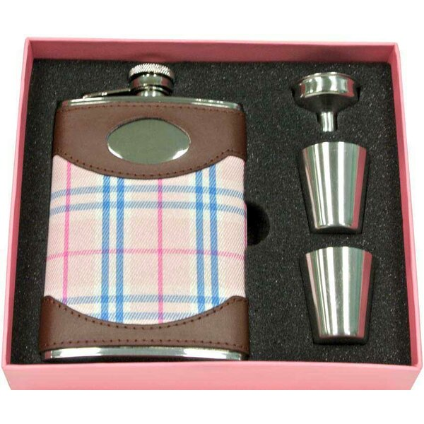 Lola Leather & Plaid Flask Gift Set by Visol Products