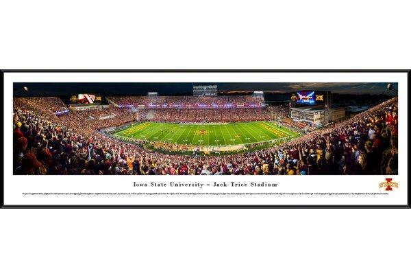 NCAA Iowa State Cyclones Night Football 50 Yard Line Framed Photographic Print by Blakeway Worldwide Panoramas, Inc