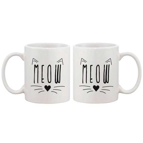 Meow Kitty Face Ceramic Mug by 365 Printing Inc