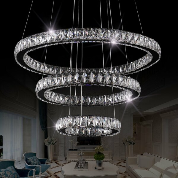 Hansen 3 - Light LED Unique Tiered Chandelier by House of Hampton House of Hampton