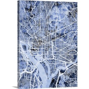 'Washington DC Street Map' by Michael Tompsett Graphic Art on Wrapped Canvas by Great Big Canvas