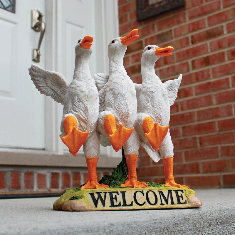 Wonderful Design Toscano Delightful Dancing Ducks Welcome Garden Statue  FC15