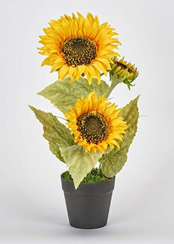 Flowering Plant with 3 Sunflower Heads in Pot by August Grove