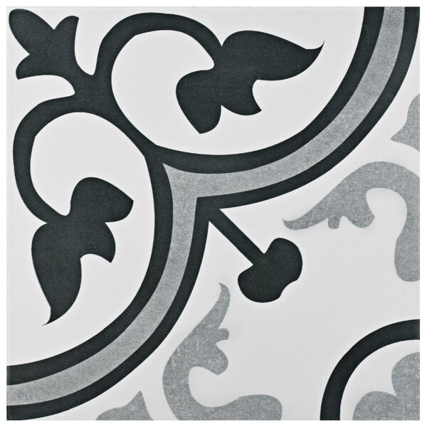 Mora 12.38 x 12.38 Ceramic Field Tile in Gray/Whit