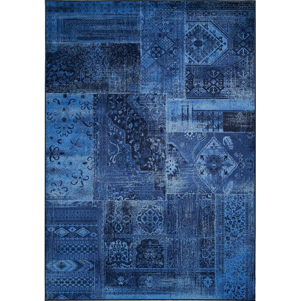 Lunceford Brilliant Patchwork Floor Cloth Blue/Navy Area Rug by Red Barrel Studio
