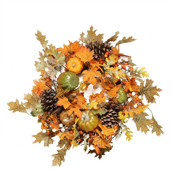 Autumn Harvest 24 Artificial Fall Leaves, Pinecones, Pumpkins and Berries Wreath by Northlight Seasonal