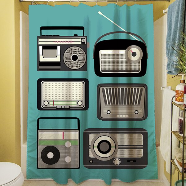 Radios Shower Curtain by Manual Woodworkers & Weavers