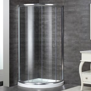 Neo Angle Door Round Shower Enclosure With Shower Base