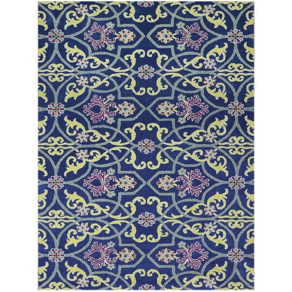 Bessie Hand-Tufted Wool Blueberry Area Rug by Charlton Home